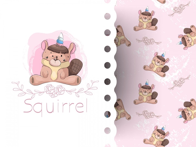 Cartoon cute squirrel girl with flower