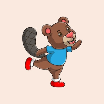 Cartoon cute squirrel waving