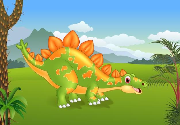 漫画かわいいステゴサウルスポーズ