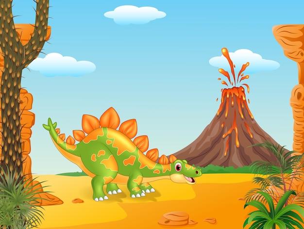 Cartoon cute stegosaurus posing