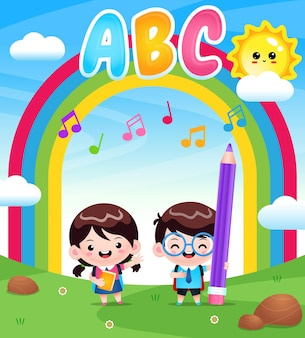Cartoon cute student at outdoor with rainbow