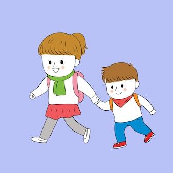 Мультфильм милые студенты, ходить в школу вектор.