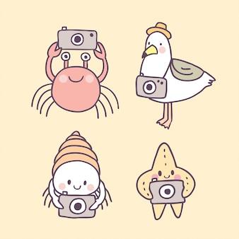 Cartoon cute summer  animals on beach vector.