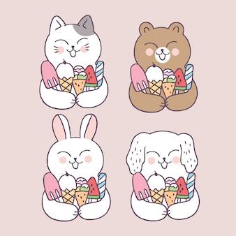 Cartoon cute summer animals and ice cream
