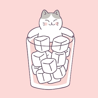 Cartoon cute summer cat and cold water vector.