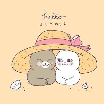Cartoon cute summer cat couple and hat