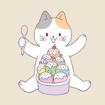 Cartoon cute summer cat and ice cream