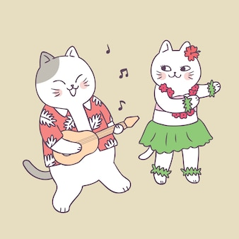 Cartoon cute summer cat playing guitar and dancing