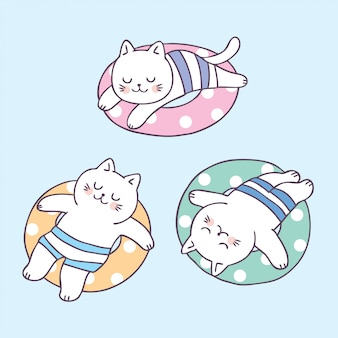 Cartoon cute summer cat sleeping and life ring