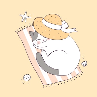 Cartoon cute summer cat sleeping vector.