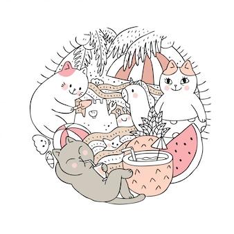 Cartoon cute summer and cat  vector.