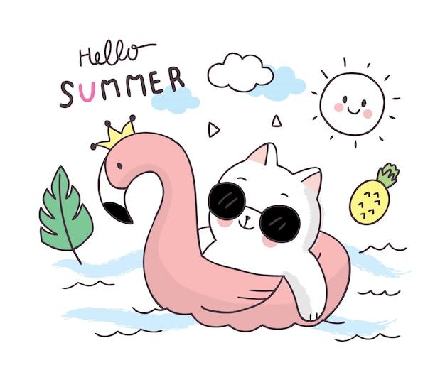 漫画かわいい夏猫とインフレータブルリング。