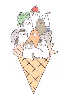 Cartoon cute summer cats and ice cream