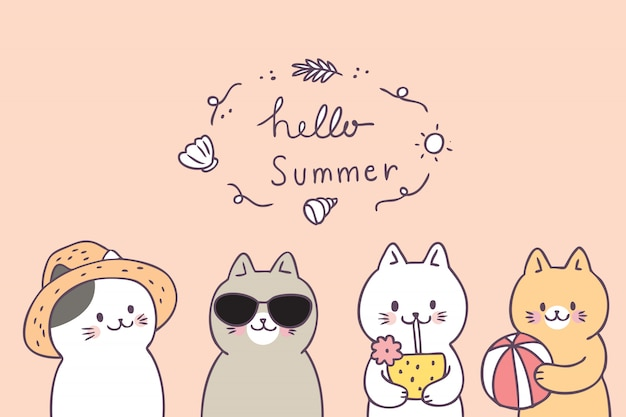 Cartoon cute summer cats