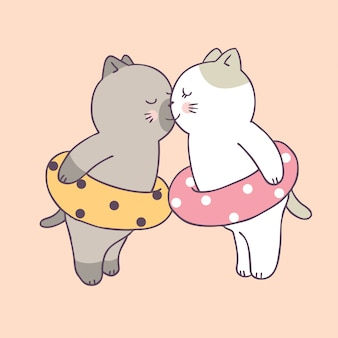 Cartoon cute summer couple cats kissing