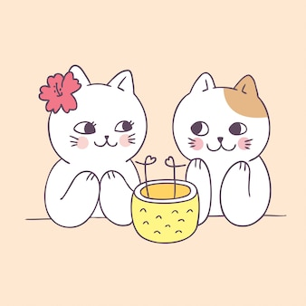 Cartoon cute summer couple cats