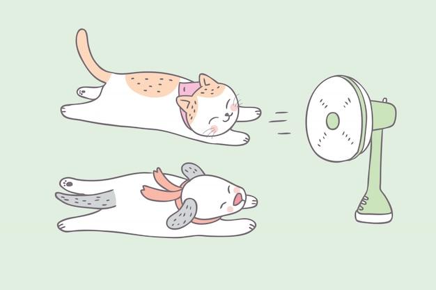 漫画かわいい夏の犬と猫。