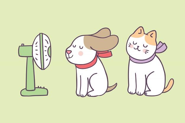 漫画かわいい夏の犬と猫