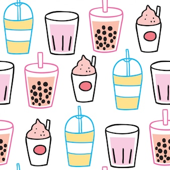 Cartoon cute summer drink seamless pattern vector.