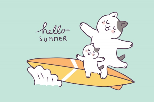 Cartoon cute summer father and kid surfing