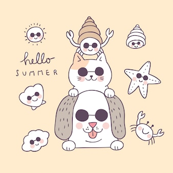 Cartoon cute summer funny animals and shell