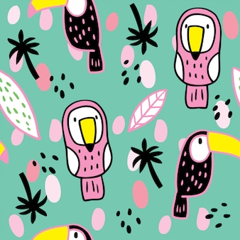 Cartoon cute summer hornbill and leaf pattern