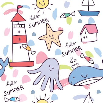 Cartoon cute summer sea animal seamless pattern