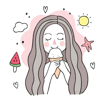 Cartoon cute summer woman eating ice cream.