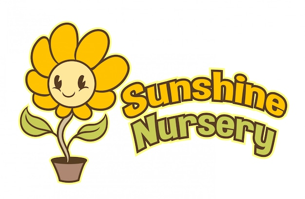 Cartoon cute sunflower character mascot logo