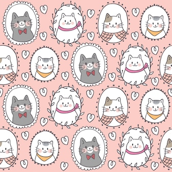 Cartoon cute sweet cat seamless pattern