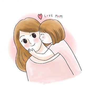 Cartoon cute sweet daughter kissing mother