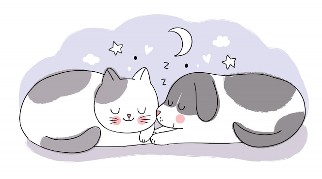 Cartoon Cute Sweet Dream Adorable Cat And Dog Sleeping Together Premium Vector