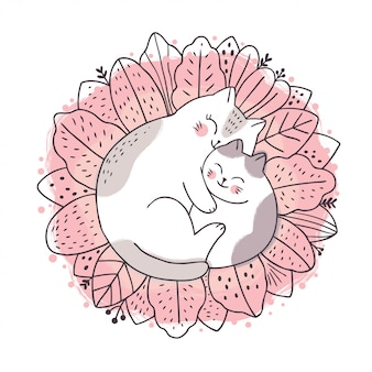 Cartoon cute sweet dream, mother and baby cat sleeping on leaf