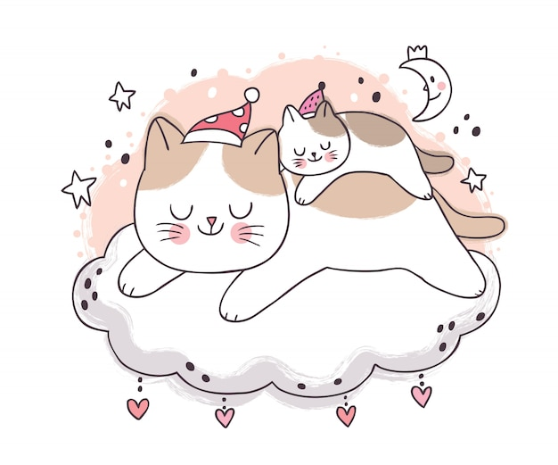 Cartoon cute sweet dream, mother and baby cat sleeping at night on cloud