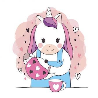 귀여운 달콤한 유니콘과 차 주전자와 컵 커피 만화.