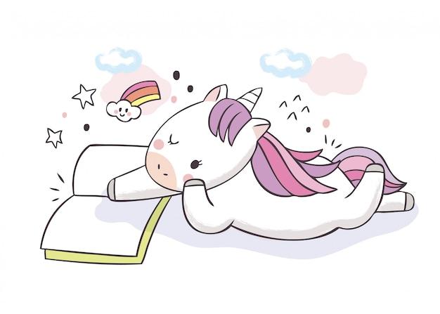 만화 귀여운 달콤한 유니콘 읽기 책입니다.