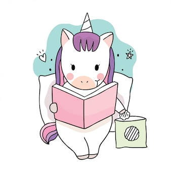 책을 읽고 만화 귀여운 달콤한 유니콘.