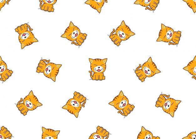 漫画かわいいトラ猫のシームレスなパターン背景