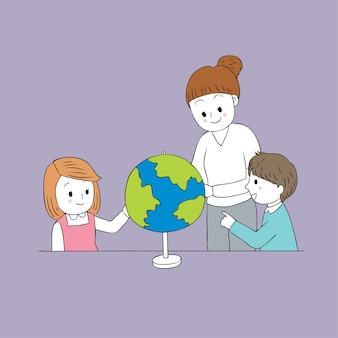 Cartoon cute teacher and student geography class vector.