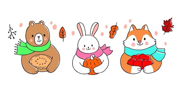 Cartoon cute thanksgiving animals