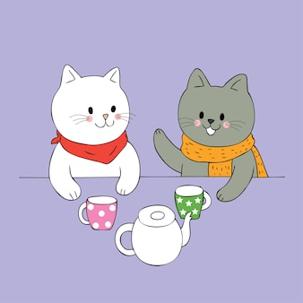 Cartoon cute two cats talking vector.