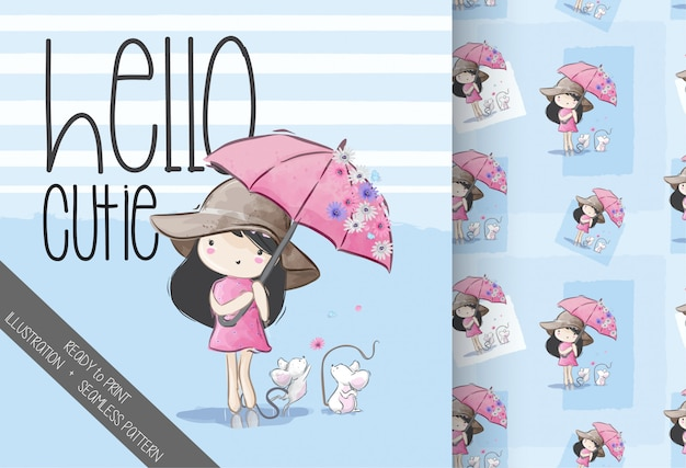Cartoon cute umbrella girl seamless pattern