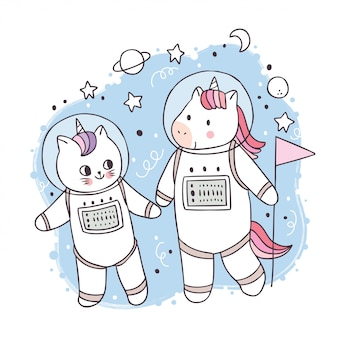 Cartoon cute unicorn and cat astronaut in galaxy