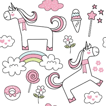 Cartoon cute unicorn seamless pattern