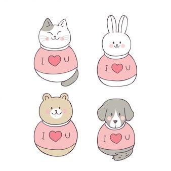 かわいいバレンタインデーの動物と愛のベクトルを漫画します。