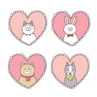 かわいいバレンタインデーの動物と愛を漫画します。