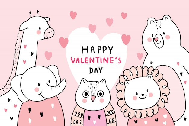 Cartoon cute valentines day animals vector.