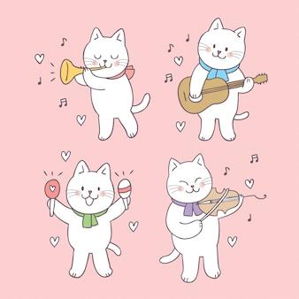만화 귀여운 발렌타인 고양이 음악.