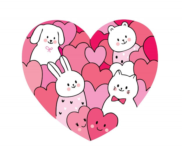 Cartoon cute valentines day  cat and dog and rabbit and hearts vector.