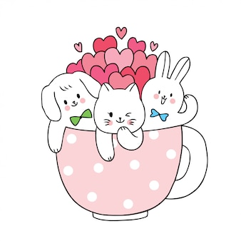 Cartoon cute valentines day  cat and dog and rabbit and many hearts in cup coffee .